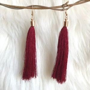 Jewelry - Boho tassel fringe statement burgundy earrings NWT